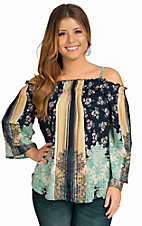 Angie Women's Navy Smocked Top