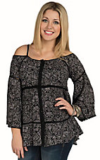 Angie Women's Black and Cream Cold Shoulder Bell Sleeve Top