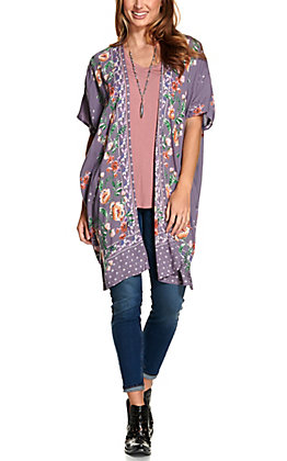Angie Women's Purple with Red and Orange Floral Print Long Kimono