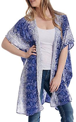 Angie Women's Blue Snake Print Kimono
