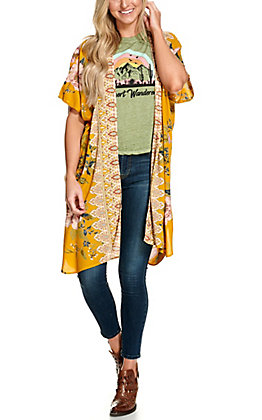 Angie Women's Mustard Yellow with a Floral Print Long Kimono