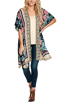 Angie Women's Navy and Cream with a Floral Print Long Kimono