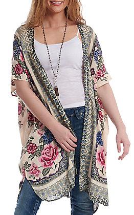 Angie Pearl Floral Print Kimono