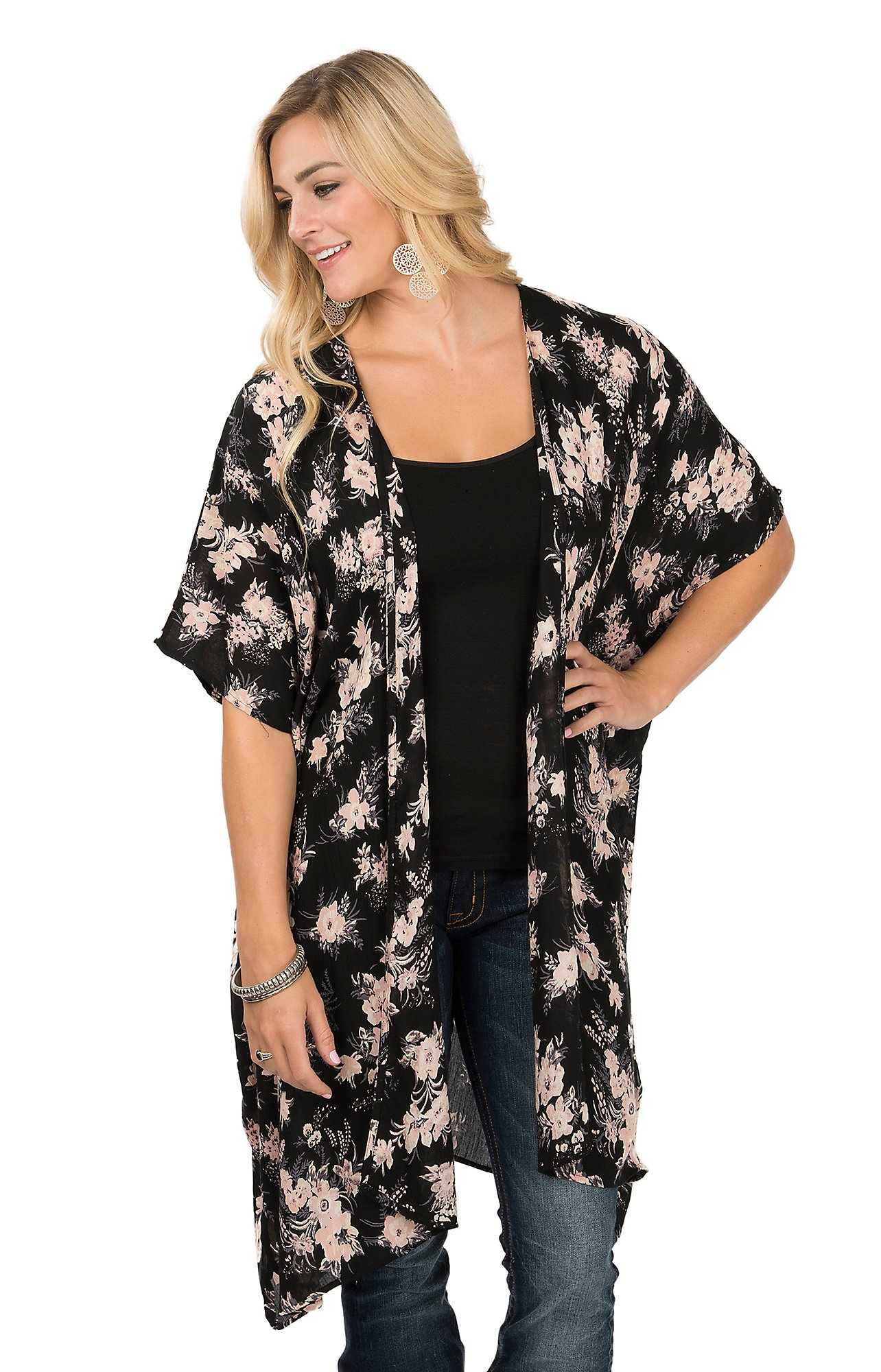 Angie Women's Black Floral Kimono | Cavender's