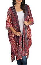 Angie Women's Cream and Red Multi Print 3/4 Sleeve Kimono