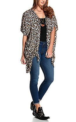 Angie Women's Cream with Leopard Print Long Kimono