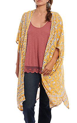 Angie Women's Gold Floral Print Kimono