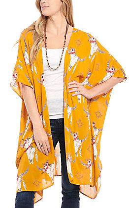 Angie Women's Mustard Skull Print Kimono