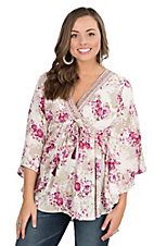 Angie Women's Cream with Light Olive and Purple Floral Print 3/4 Batwing Sleeve Fashion Top