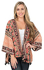 Angie Women's Orange Floral with Tassel Trim 3/4 Sleeve Kimono
