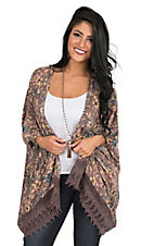 Angie Women's Taupe, and Cream Floral with Crochet Trim 1/2 Sleeve Kimono