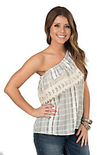 Angie White Blue Plaid One Shoulder Fashion Top