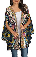 Angie Women's Midnight Blue and Green Floral Cold Shoulder 3/4 Sleeve Kimono