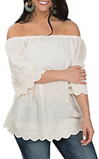 Angie Women's White Embroidery Off the Shoulder Fashion Shirt