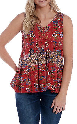 Angie Women's Red Floral V-Neck Fashion Tank