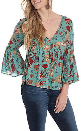 b90755c7825d3b Angie Women's Turquoise Floral Bell Sleeve Fashion Top