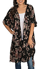 Angie Women's Black with Floral Print Short Sleeve Duster Kimono