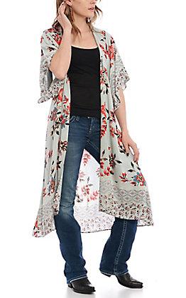 Angie Women's Jade Floral Print Kimono