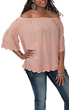 Angie Women's Dusty Rose Embroidery Off the Shoulder Fashion Shirt