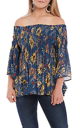 6e092e26442685 Angie Women's Blue Floral Off The Shoulder Smock Fashion Top