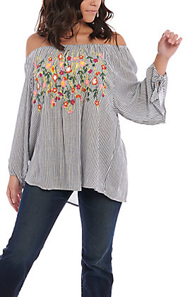 23509fc033c135 Angie Women's Navy Stripe With Neon Floral Embroidery Fashion Top