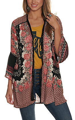 Angie Women's Black with Floral Print and Velvet 3/4 Bell Sleeve Kimono