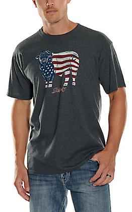 Rafter C Men's Grey American Flag Bull Short Sleeve T-Shirt