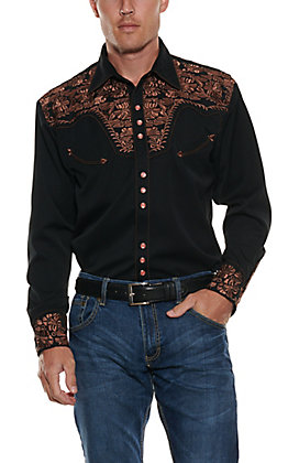 Scully Men's Black Legends Gunfighter Long Sleeve Western Shirt
