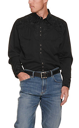 Scully Men's Jet Black Western Legends Gunfighter Long Sleeve Western Shirt
