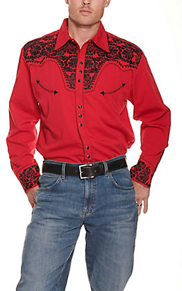 Scully Men's Red Legends Gunfighter Long Sleeve Western Shirt