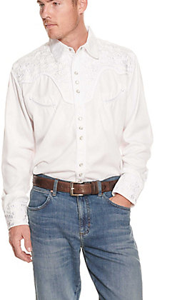 Scully Men's Legends Gunfighter White On White Long Sleeve Western Shirt