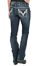Vigoss Women's Dark Wash Chelsea with Leather & Rhinestones Boot Cut Jean