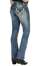 Vigoss Women's Light Wash Chelsea with Embroidery & Sequins Boot Cut Jean