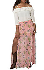 Berry N Cream Women's Pink Cactus Tribal Print Maxi Skort