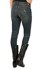 Sneak Peek Women's Dark Wash with Destructed Knee Low Rise Skinny Jean