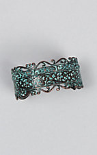 Amber's Allie Copper and Turquoise Patina Cuff Bracelet