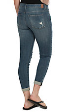 Sneak Peek Women's Medium Wash Sexy Boyfriend Destructed Skinny Jeans