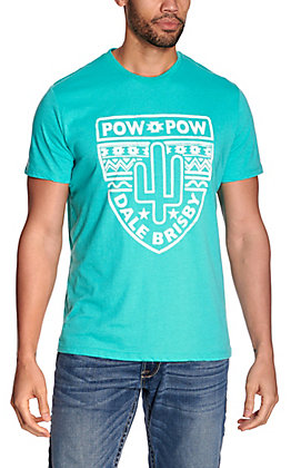 Dale Brisby by Rock & Roll Denim Men's Turquoise Cactus Pow Pow Short Sleeve Tee