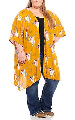 Angie Women's Mustard Skull Print Kimono - Plus Size