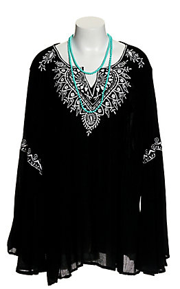 Angie Women's Black with White Embroidery V-Neck Long Bell Sleeve Fashion Top - Plus Sizes