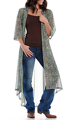 Crazy Train Women's Mint Paisley Tooled Duster