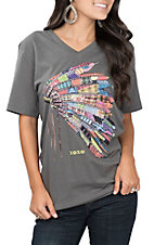 XOXO Art & Co. Women's Asphalt V-Neck Patchwork Headdress T-Shirt