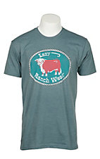 Lazy J Ranchwear Men's Heather Teal Rope Cow Graphic T-Shirt