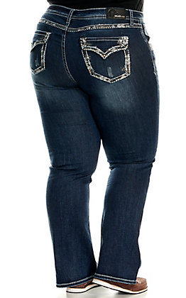 Grace in LA Women's Dark Wash Embroidered Trim Faux Flap Pockets Boot Cut Jeans - Plus Sizes
