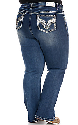 Grace in LA Women's Embroidery, Leather and Rhinestones Easy Fit Boot Cut Jeans - Plus Sizes