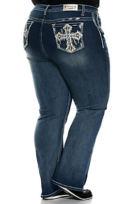 Grace in LA Women's Medium Wash Embroidered and Leather Cross Pockets Boot Cut Jeans - Plus Sizes