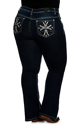 Grace in LA Women's Dark Wash with Cross Design Easy Fit Boot Cut Jeans - Plus Sizes