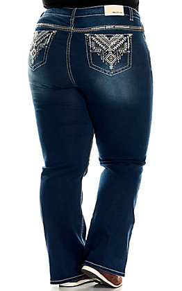 Grace in LA Women's Dark Wash with Aztec Embroidery Boot Cut Jeans - Plus Sizes
