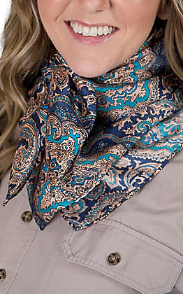 Blue and Gold Paisley Silk Wild Rags Scarf
