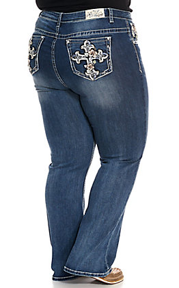Grace in LA Women's Floral Cross Easy Fit Boot Cut Jeans - Plus Sizes